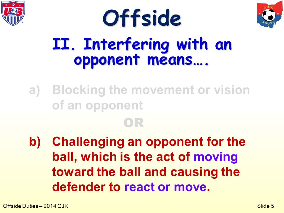 Slide 5 Offside Duties – 2014 CJK a)Blocking the movement or vision of an opponent OR b)Challenging an opponent for the ball, which is the act of moving toward the ball and causing the defender to react or move.