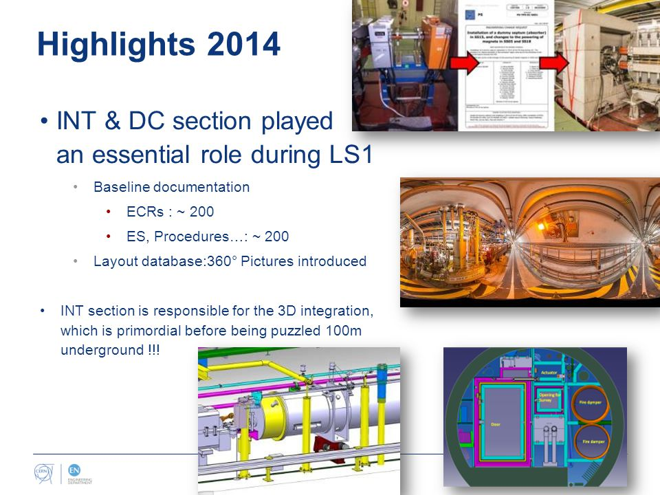 Highlights 2014 INT & DC section played an essential role during LS1 Baseline documentation ECRs : ~ 200 ES, Procedures…: ~ 200 Layout database:360° Pictures introduced INT section is responsible for the 3D integration, which is primordial before being puzzled 100m underground !!!