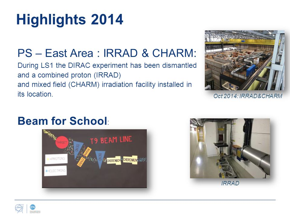 Highlights 2014 PS – East Area : IRRAD & CHARM: During LS1 the DIRAC experiment has been dismantled and a combined proton (IRRAD) and mixed field (CHARM) irradiation facility installed in its location.