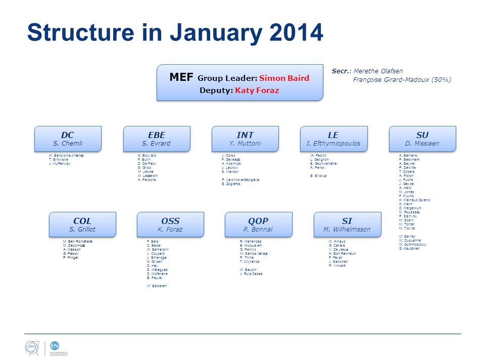 Structure in January 2014 MEF Group Leader: Simon Baird Deputy: Katy Foraz MEF Group Leader: Simon Baird Deputy: Katy Foraz Secr.: Merethe Olafsen Françoise Girard-Madoux (50%) COL S.
