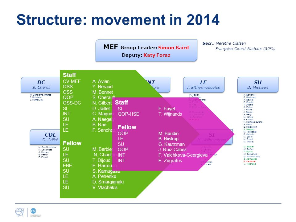 Structure: movement in 2014 MEF Group Leader: Simon Baird Deputy: Katy Foraz MEF Group Leader: Simon Baird Deputy: Katy Foraz Secr.: Merethe Olafsen Françoise Girard-Madoux (50%) COL S.