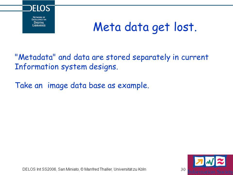DELOS Int SS2006, San Miniato, © Manfred Thaller, Universität zu Köln 30 Meta data get lost.