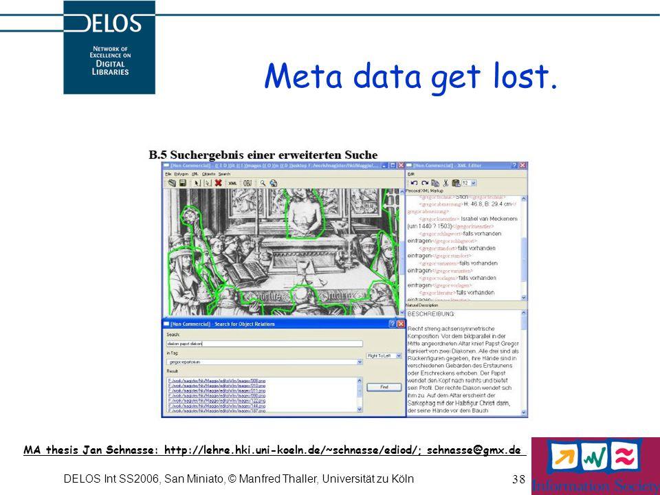 DELOS Int SS2006, San Miniato, © Manfred Thaller, Universität zu Köln 38 Meta data get lost.