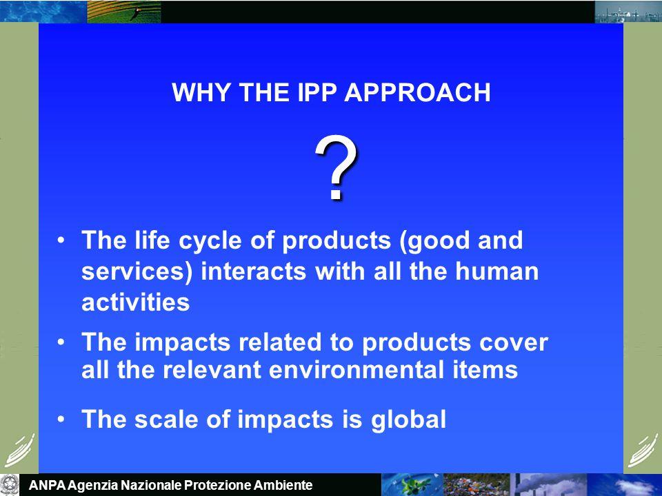 ANPA Agenzia Nazionale Protezione Ambiente WHY THE IPP APPROACH .