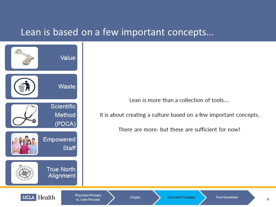 Lean is based on a few important concepts… 7 Physician Process vs.