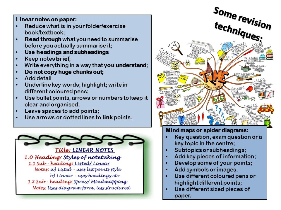 Mind maps or spider diagrams: Key question, exam question or a key topic in the centre; Subtopics or subheadings; Add key pieces of information; Develop some of your points; Add symbols or images; Use different coloured pens or highlight different points; Use different sized pieces of paper.