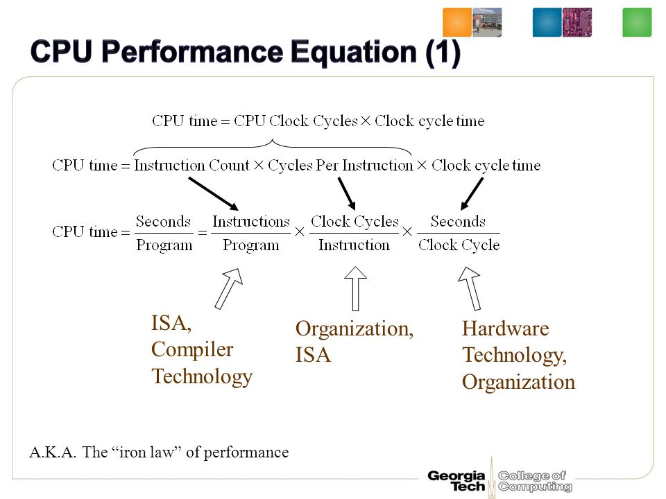 "Hardware Technology, Organization Organization, ISA ISA, Compiler Technology A.K.A. The ""iron law"" of performance"