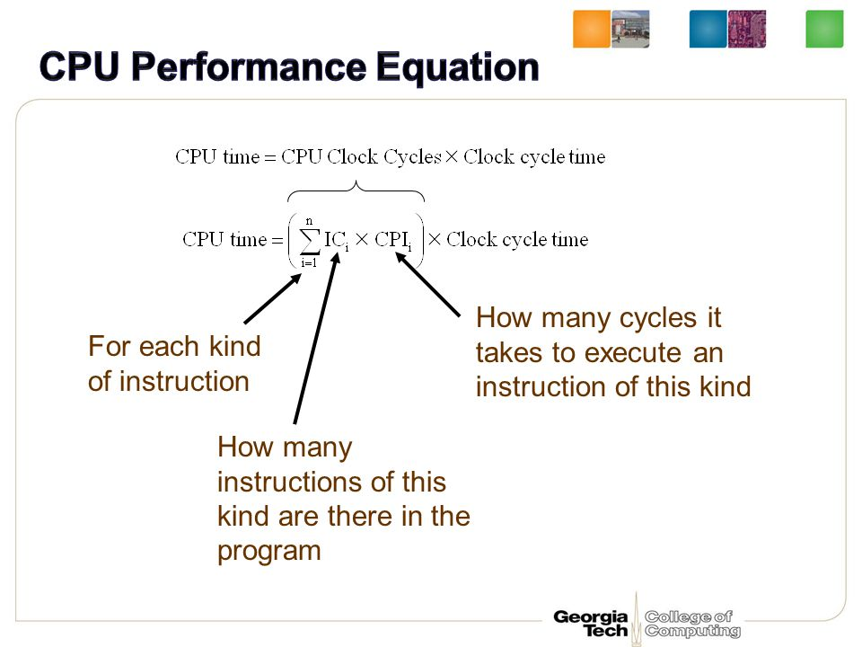 For each kind of instruction How many instructions of this kind are there in the program How many cycles it takes to execute an instruction of this ki