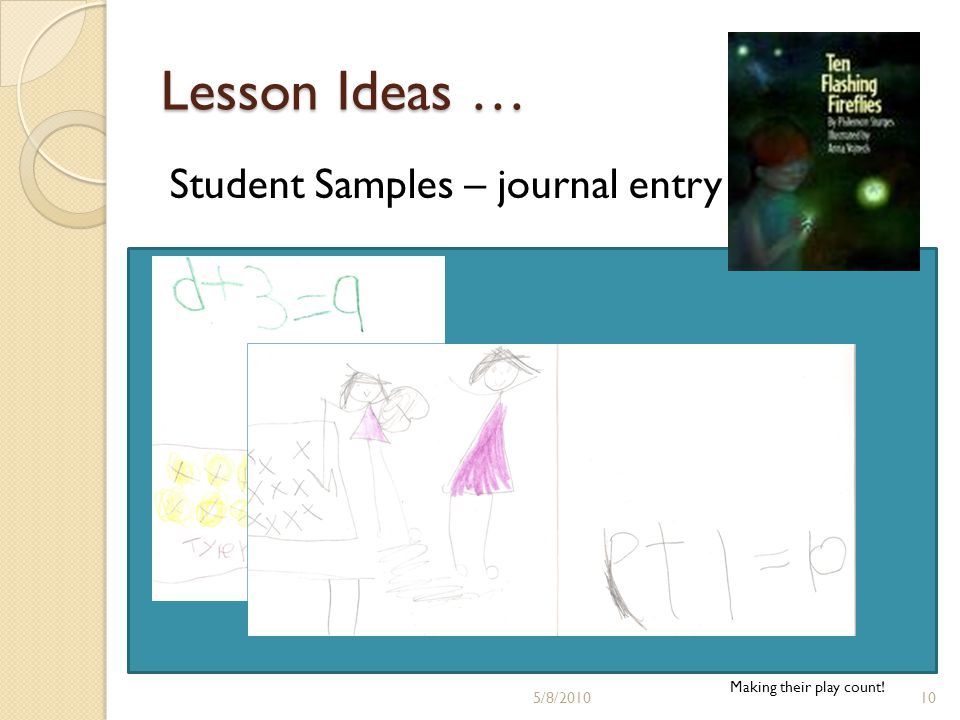 Lesson Ideas … Student Samples – journal entry Making their play count! 5/8/201010