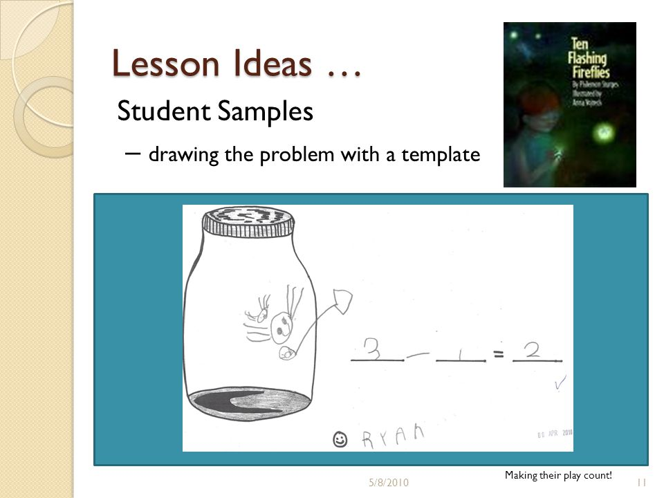Lesson Ideas … Student Samples – drawing the problem with a template Making their play count.