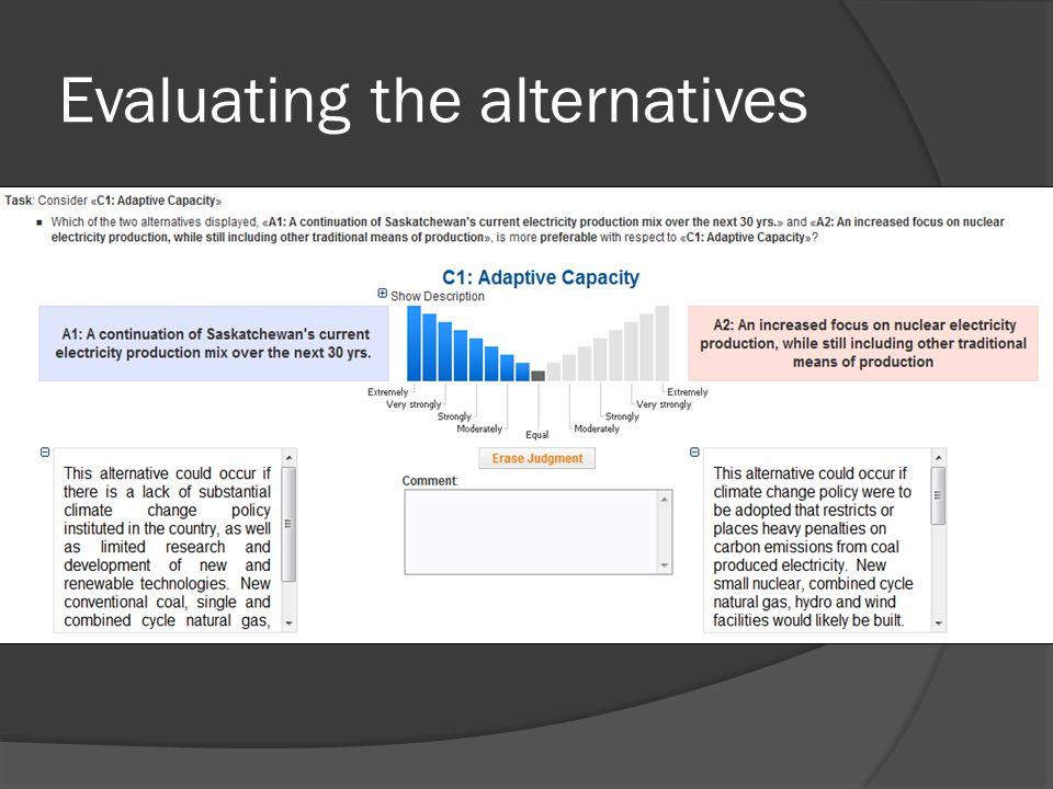 Evaluating the alternatives