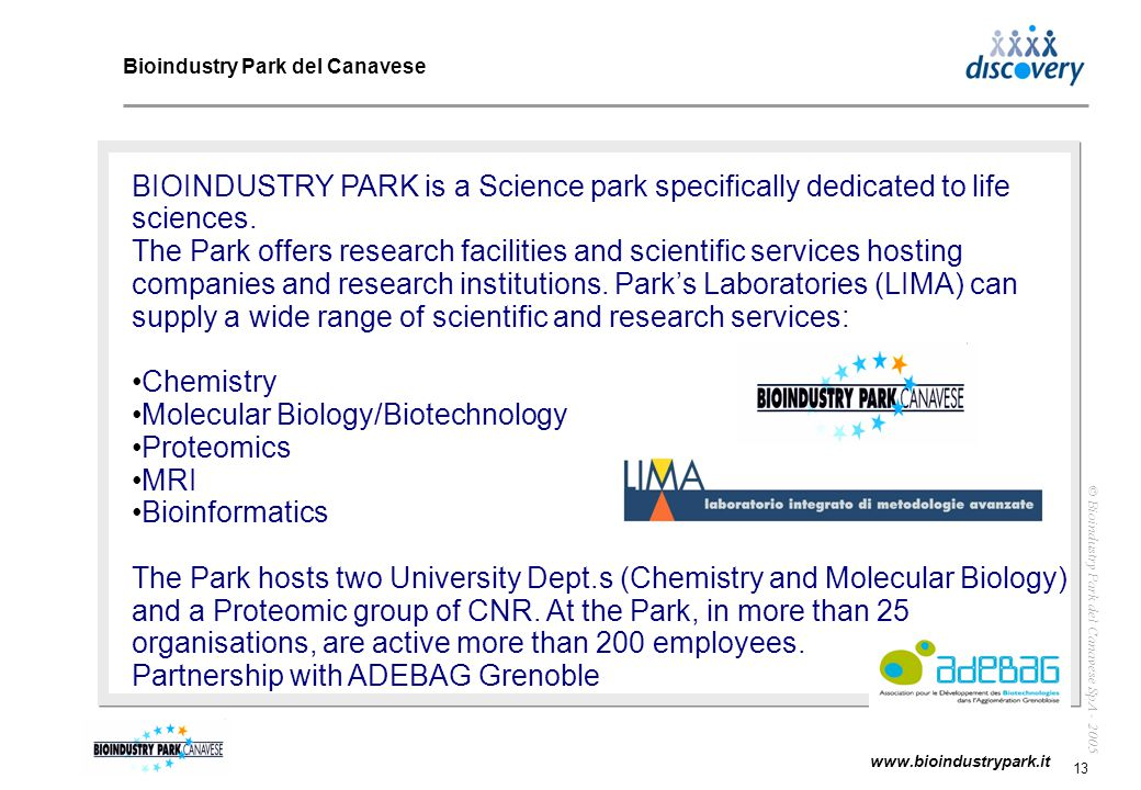 14 www.bioindustrypark.it © Bioindustry Park del Canavese SpA - 2005 Bioindustry Park - Theoretical model