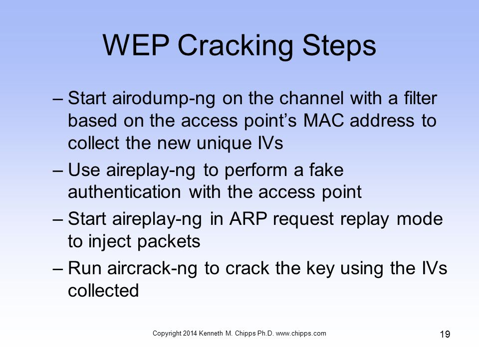 WEP Cracking Steps –Start airodump-ng on the channel with a filter based on the access point's MAC address to collect the new unique IVs –Use aireplay-ng to perform a fake authentication with the access point –Start aireplay-ng in ARP request replay mode to inject packets –Run aircrack-ng to crack the key using the IVs collected Copyright 2014 Kenneth M.