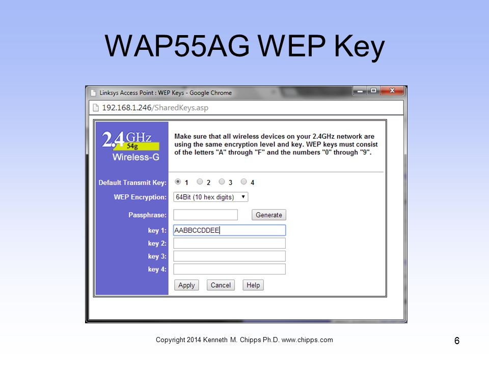 WAP55AG WEP Key Copyright 2014 Kenneth M. Chipps Ph.D. www.chipps.com 6