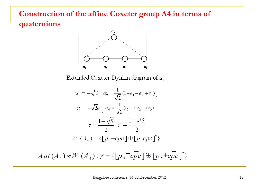 Bangalore conference, 16-22 December, 2012 12 Construction of the affine Coxeter group A4 in terms of quaternions