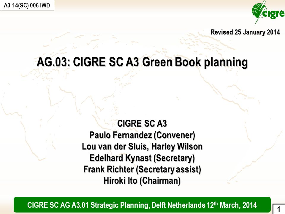 2 Purpose: CIGRE has decided to launch a collection of scientific and technical books to assemble the corpus of the knowledge of the members, beyond its present publications (ELECTRA, TBs, Session papers) Objectives and targets: CIGRE is the international reference in the domain of power systems.