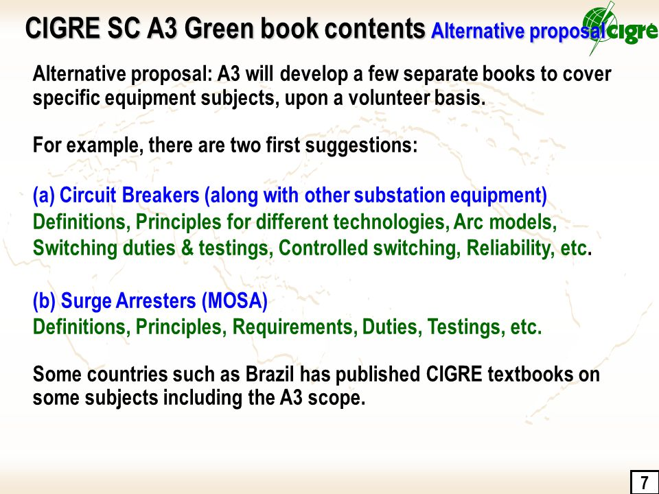 7 Alternative proposal: A3 will develop a few separate books to cover specific equipment subjects, upon a volunteer basis. For example, there are two