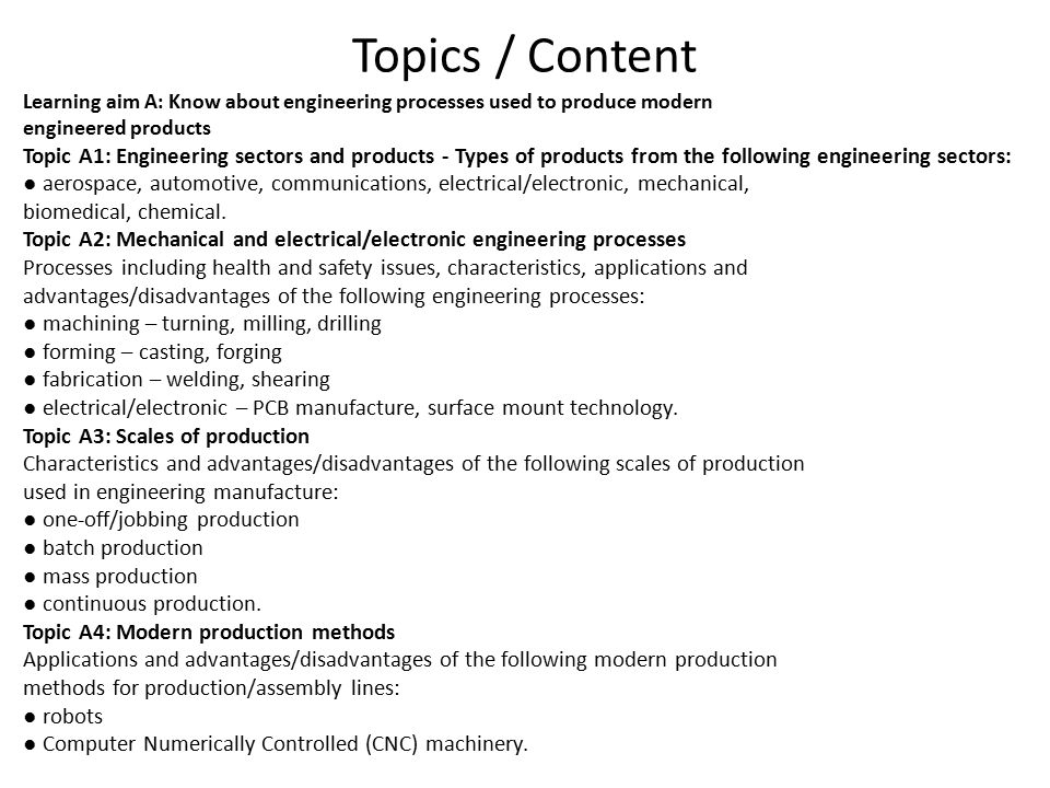 Topics / Content Learning aim A: Know about engineering processes used to produce modern engineered products Topic A1: Engineering sectors and products - Types of products from the following engineering sectors: ● aerospace, automotive, communications, electrical/electronic, mechanical, biomedical, chemical.