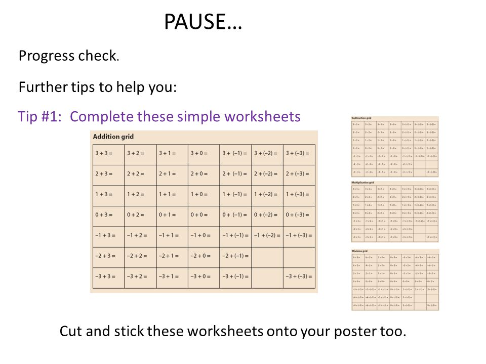 PAUSE… Progress check. Cut and stick these worksheets onto your poster too. Further tips to help you: Tip #1: Complete these simple worksheets