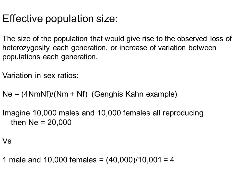 Effective population size: The size of the population that would give rise to the observed loss of heterozygosity each generation, or increase of variation between populations each generation.