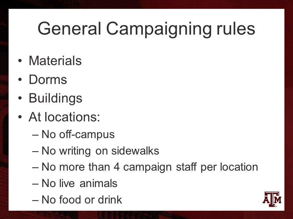 Materials Dorms Buildings At locations: –No off-campus –No writing on sidewalks –No more than 4 campaign staff per location –No live animals –No food or drink General Campaigning rules