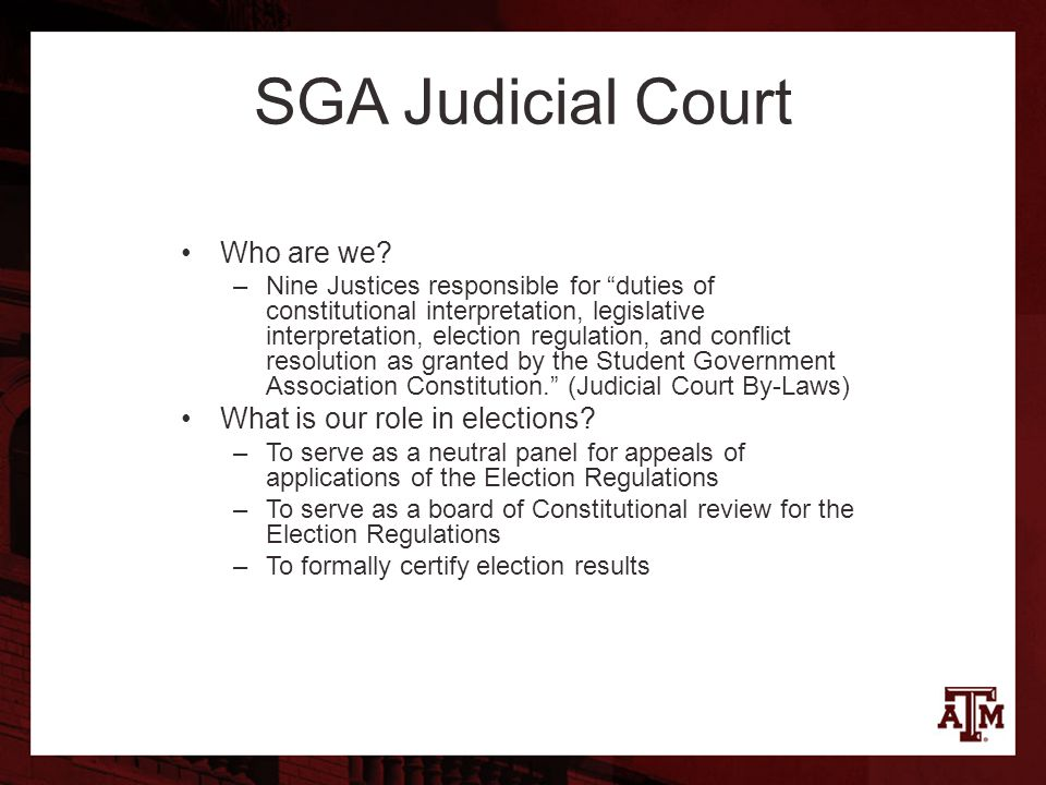 SGA Judicial Court Who are we.