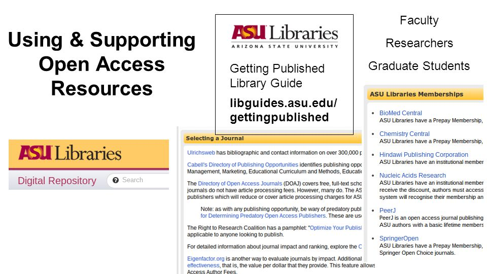 Using & Supporting Open Access Resources Faculty Researchers Graduate Students Getting Published Library Guide libguides.asu.edu/ gettingpublished