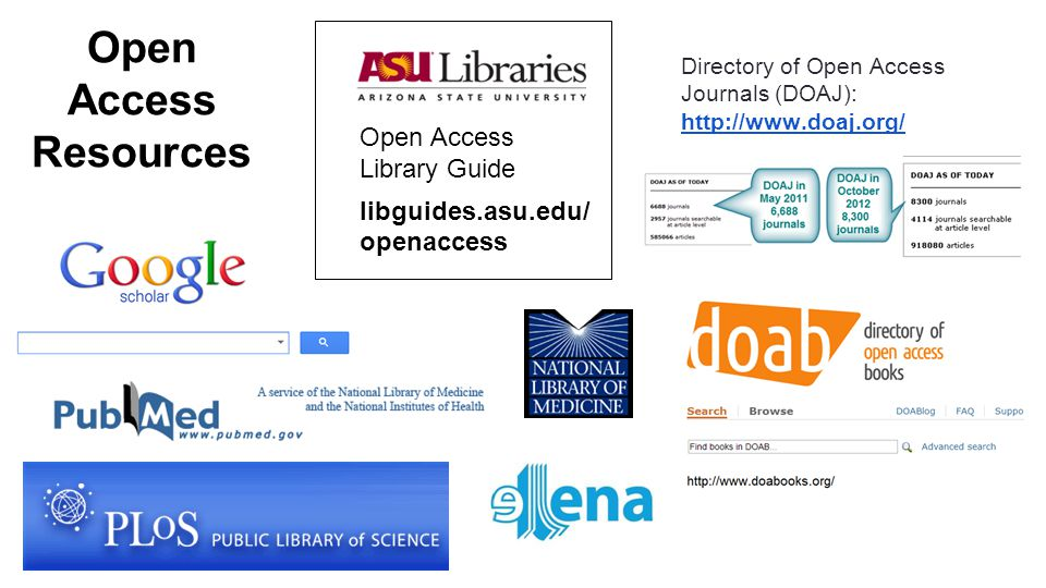 Open Access Resources Open Access Library Guide libguides.asu.edu/ openaccess Directory of Open Access Journals (DOAJ): http://www.doaj.org/ http://www.doaj.org/