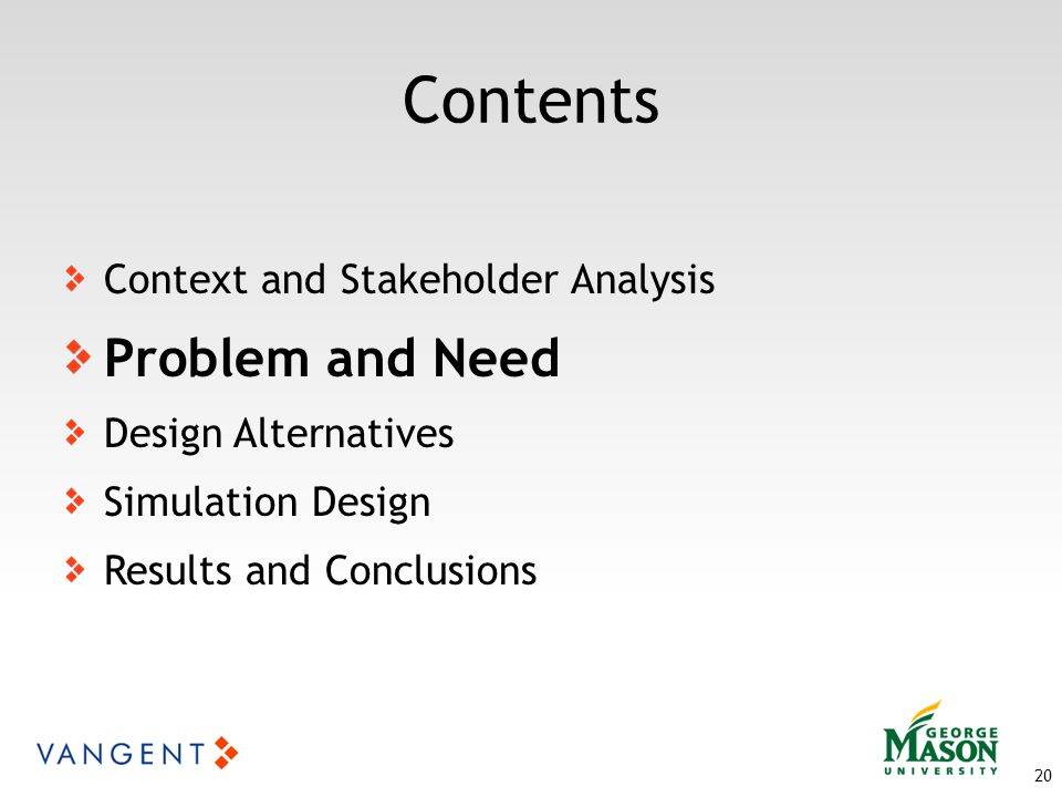 Contents 20 Context and Stakeholder Analysis Problem and Need Design Alternatives Simulation Design Results and Conclusions