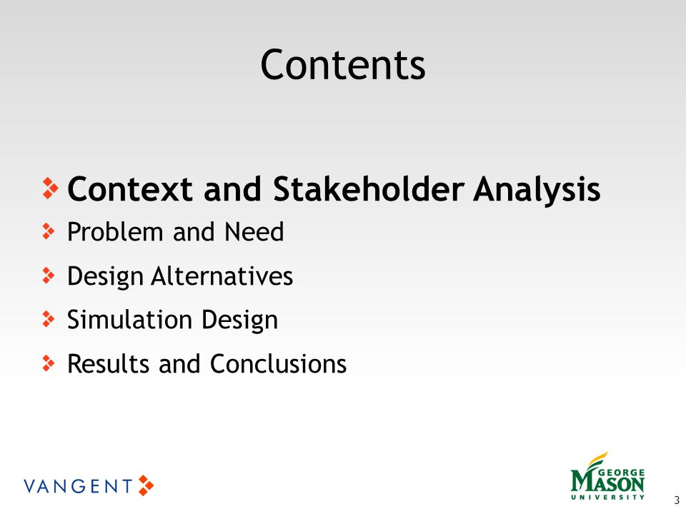 Contents 3 Context and Stakeholder Analysis Problem and Need Design Alternatives Simulation Design Results and Conclusions