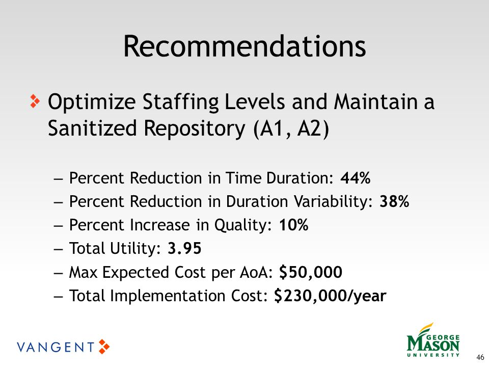 46 Recommendations Optimize Staffing Levels and Maintain a Sanitized Repository (A1, A2) – Percent Reduction in Time Duration: 44% – Percent Reduction in Duration Variability: 38% – Percent Increase in Quality: 10% – Total Utility: 3.95 – Max Expected Cost per AoA: $50,000 – Total Implementation Cost: $230,000/year