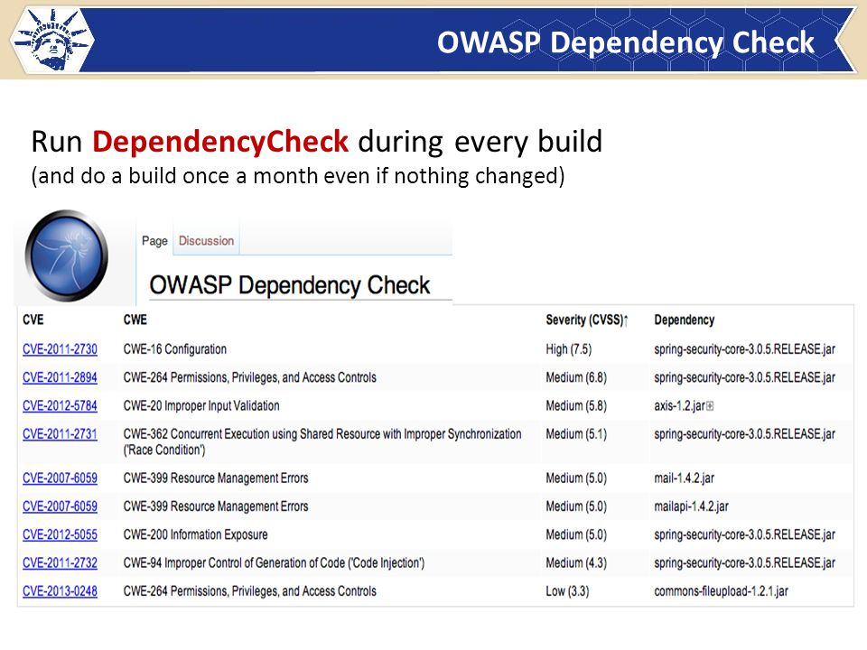 OWASP Dependency Check Run DependencyCheck during every build (and do a build once a month even if nothing changed)