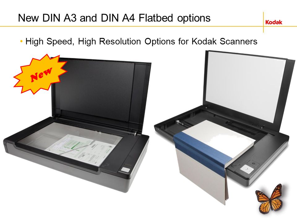 High Speed, High Resolution Options for Kodak Scanners New DIN A3 and DIN A4 Flatbed options New