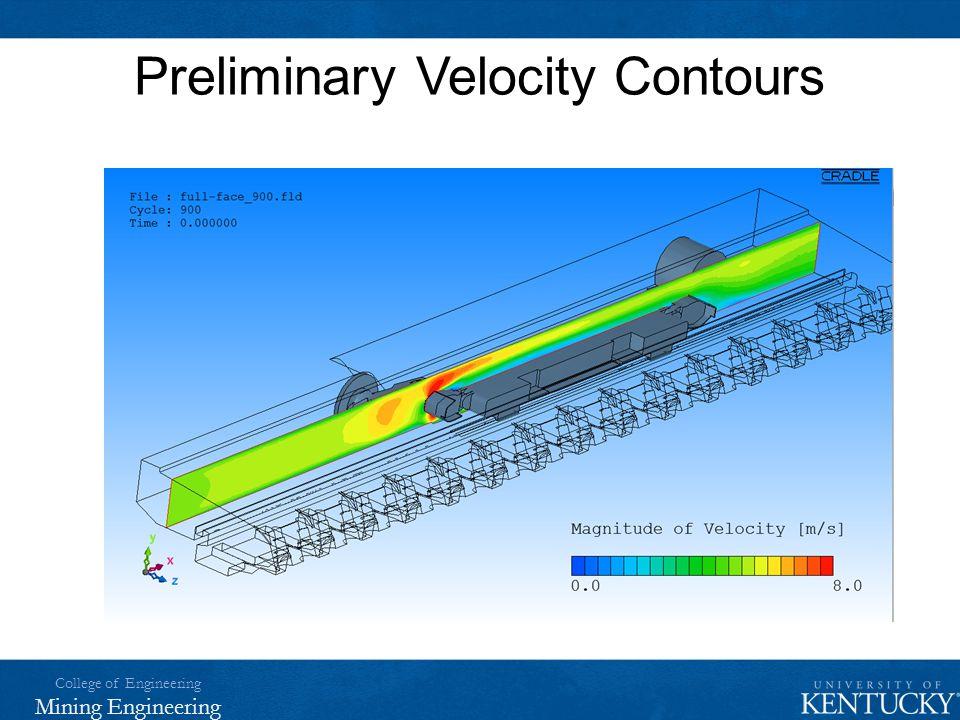 College of Engineering Mining Engineering Preliminary Velocity Contours