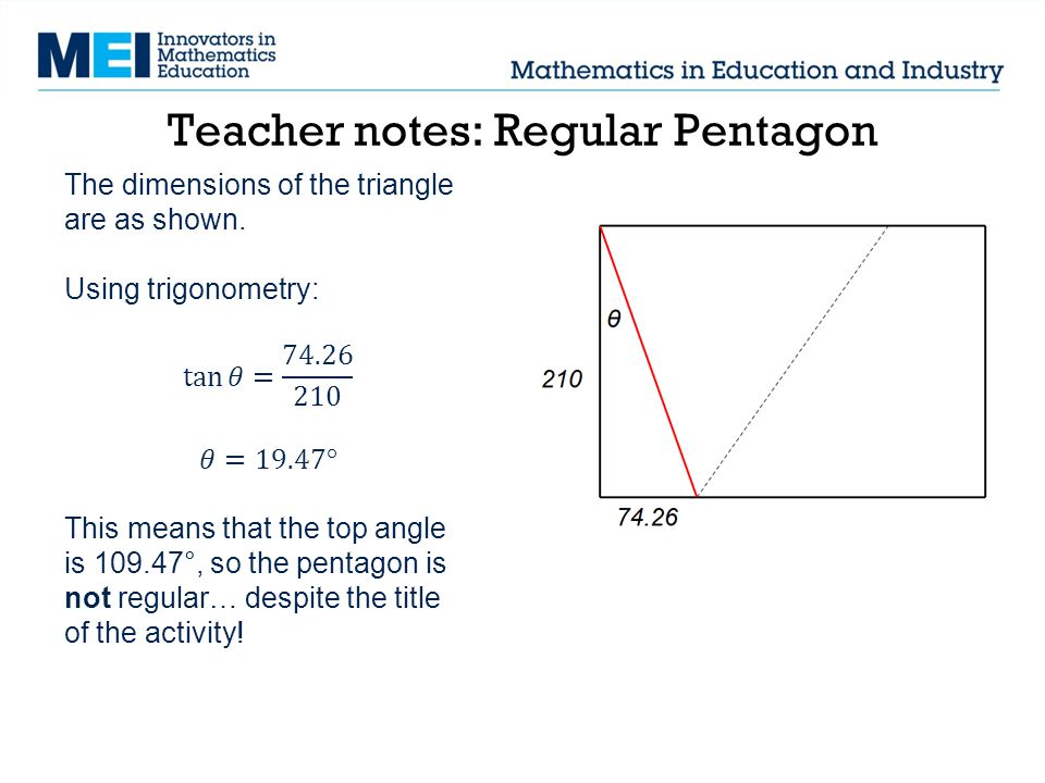 Teacher notes: Regular Pentagon