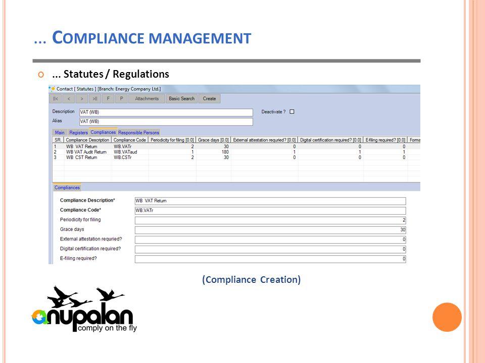 … C OMPLIANCE MANAGEMENT... Statutes / Regulations (Compliance Creation)