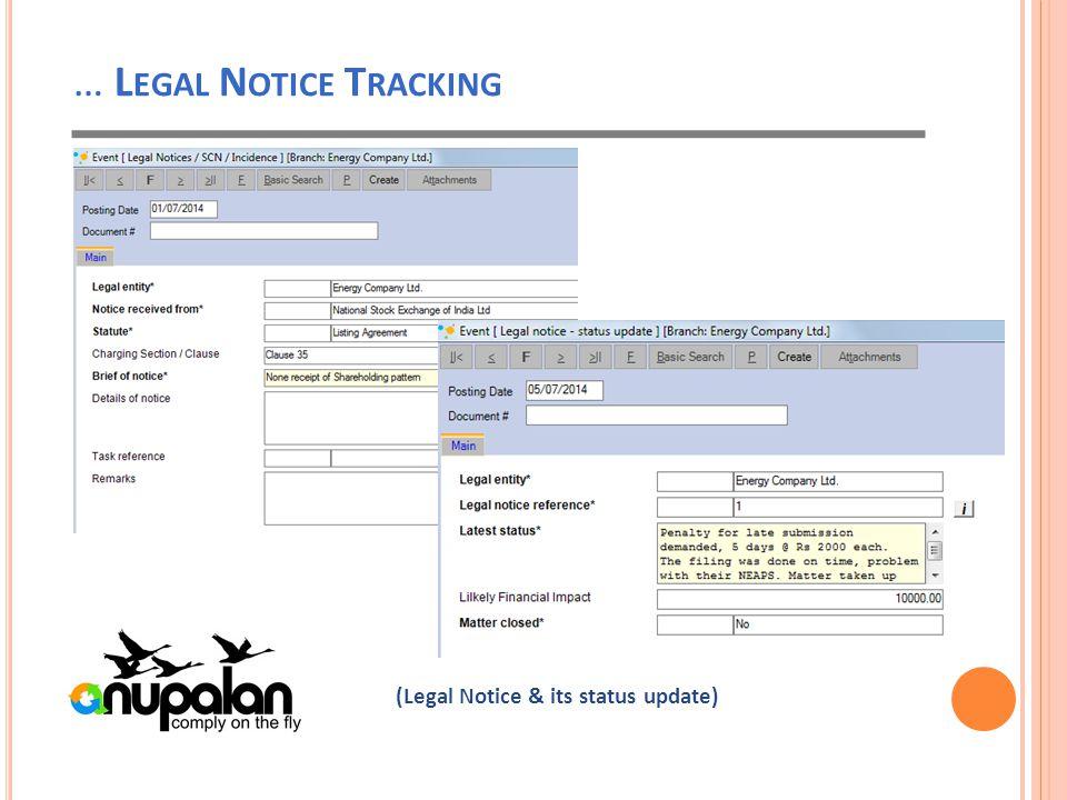 … L EGAL N OTICE T RACKING (Legal Notice & its status update)