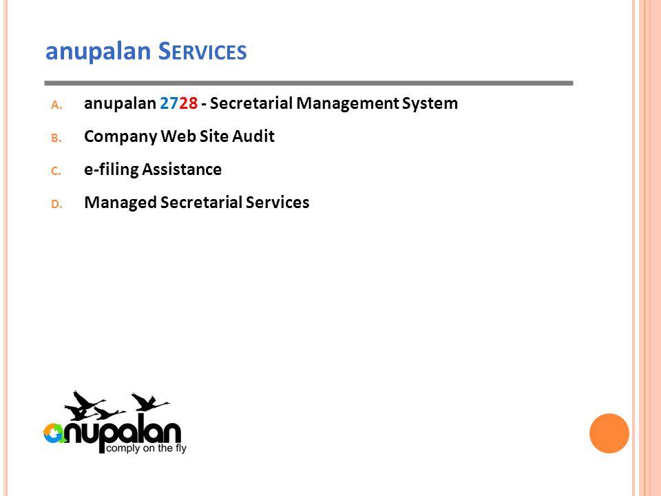 anupalan S ERVICES A. anupalan 2728 - Secretarial Management System B.