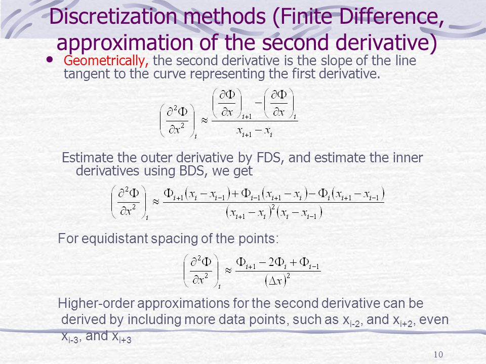 10 Discretization methods (Finite Difference, approximation of the second derivative) Geometrically, the second derivative is the slope of the line ta