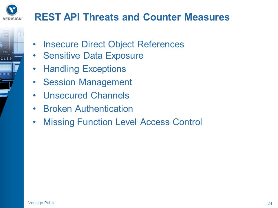 24 Verisign Public Insecure Direct Object References Sensitive Data Exposure Handling Exceptions Session Management Unsecured Channels Broken Authenti
