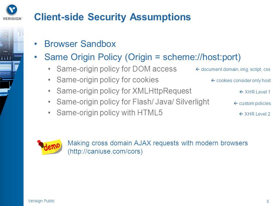 5 Verisign Public Browser Sandbox Same Origin Policy (Origin = scheme://host:port) Same-origin policy for DOM access Same-origin policy for cookies Sa