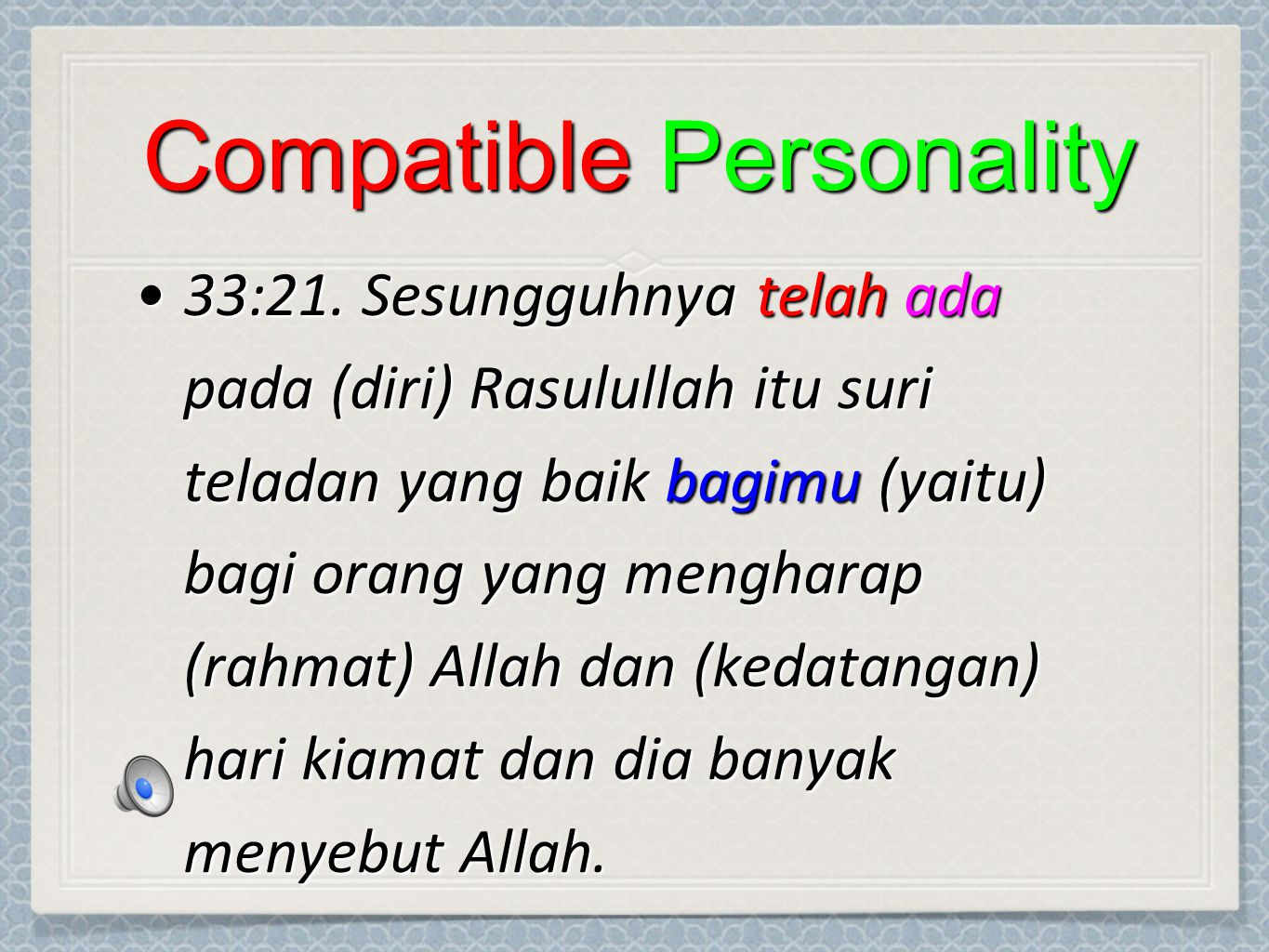 Compatible Personality 33:21.