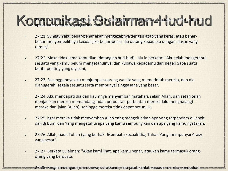 Komunikasi Sulaiman-Hud-hud 27:20.