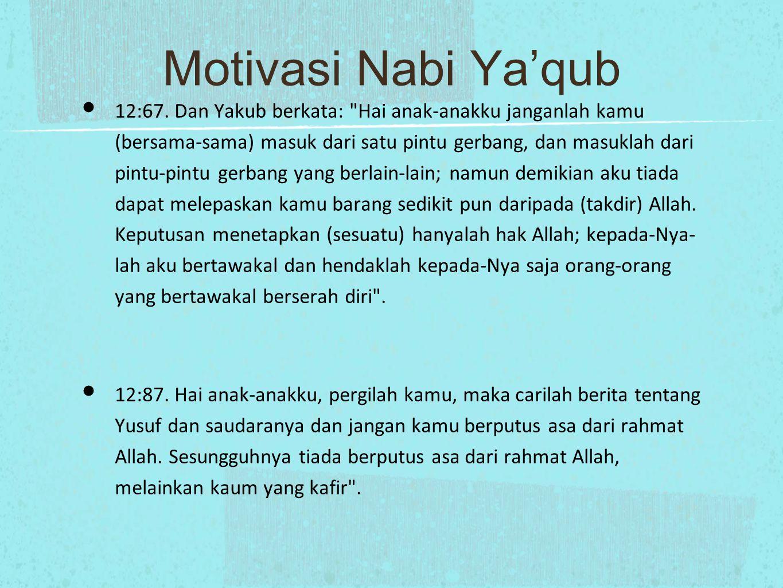 Motivasi Nabi Ya'qub 12:67.