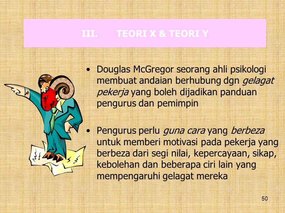 50 III.TEORI X & TEORI Y Douglas McGregor seorang ahli psikologi membuat andaian berhubung dgn gelagat pekerja yang boleh dijadikan panduan pengurus d