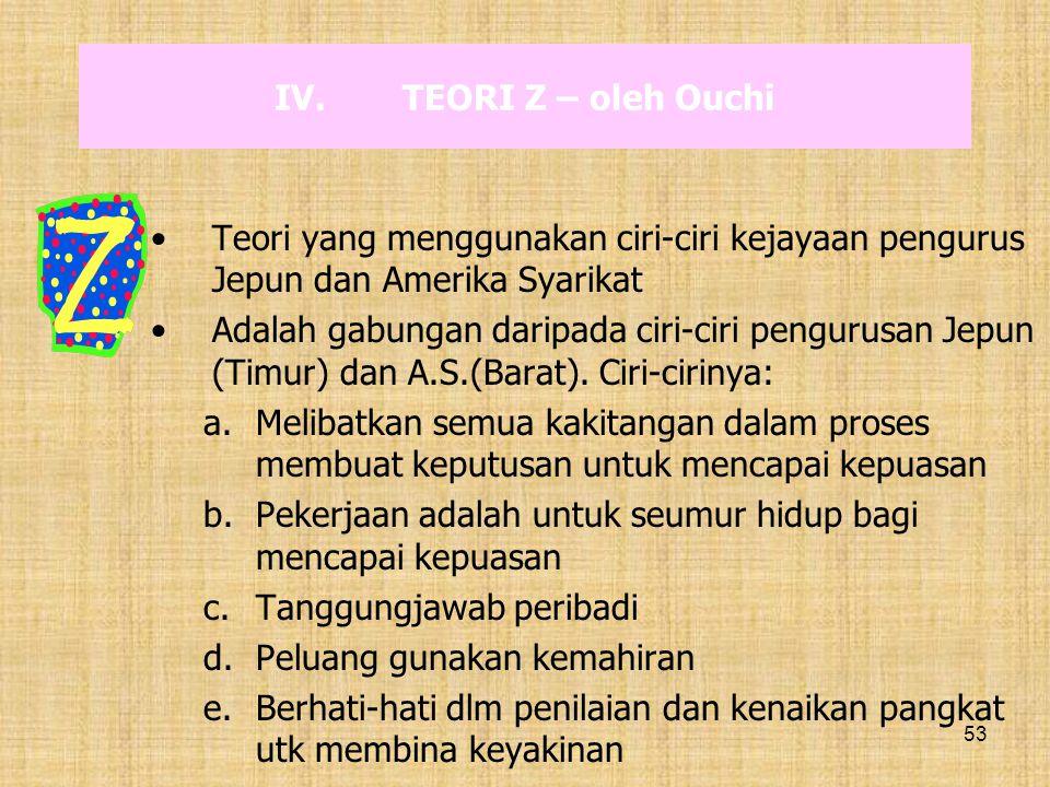 53 IV.TEORI Z – oleh Ouchi Teori yang menggunakan ciri-ciri kejayaan pengurus Jepun dan Amerika Syarikat Adalah gabungan daripada ciri-ciri pengurusan
