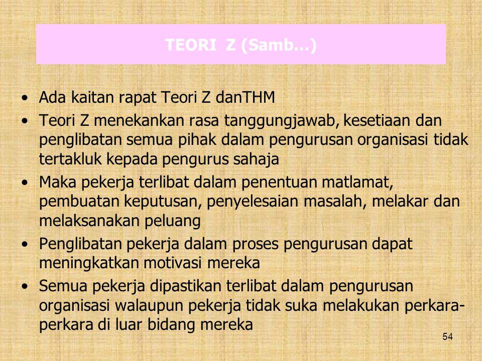 54 TEORI Z (Samb…) Ada kaitan rapat Teori Z danTHM Teori Z menekankan rasa tanggungjawab, kesetiaan dan penglibatan semua pihak dalam pengurusan organ