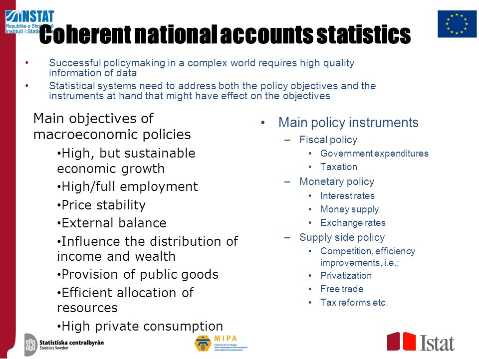 Coherent macroeconomic statistics Example, policy objective: increase employment Labour market Households Supply Corporations Enterprises Demand Government Market Goods & Services RoW Demand Exports Imports Consumption Production Demand Taxes Transfers Taxes Dividends Financial markets Government Financial transactions Change in debt Financial transactions Central Bank Fiscal policies Monetary policies Supply side policies Financial transactions Subsid.