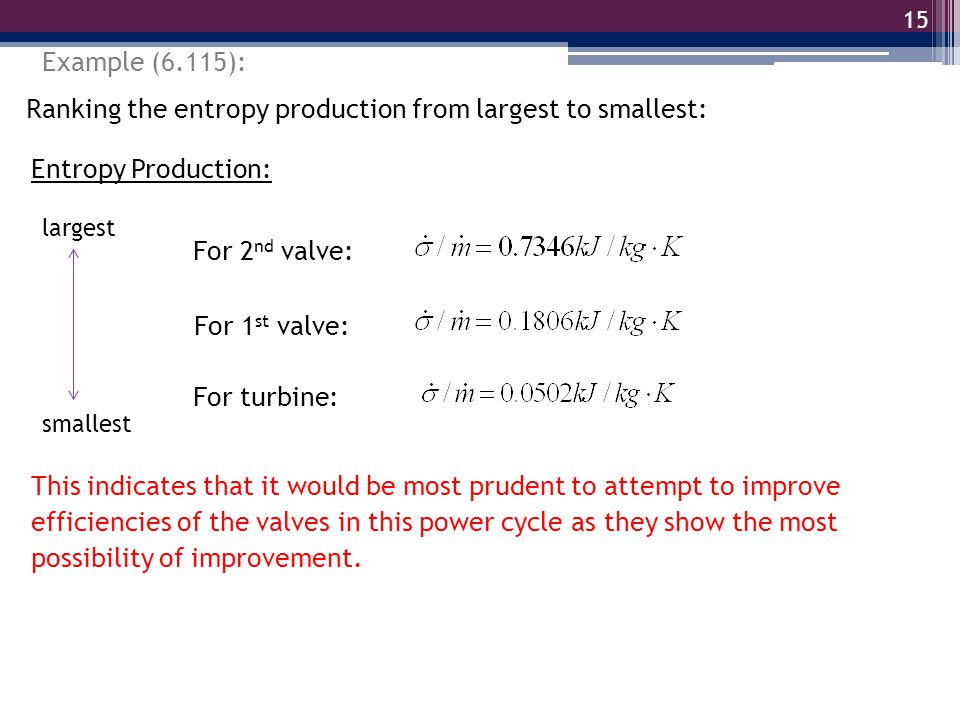 15 Example (6.115): Ranking the entropy production from largest to smallest: Entropy Production: For turbine: For 1 st valve: For 2 nd valve: largest smallest This indicates that it would be most prudent to attempt to improve efficiencies of the valves in this power cycle as they show the most possibility of improvement.