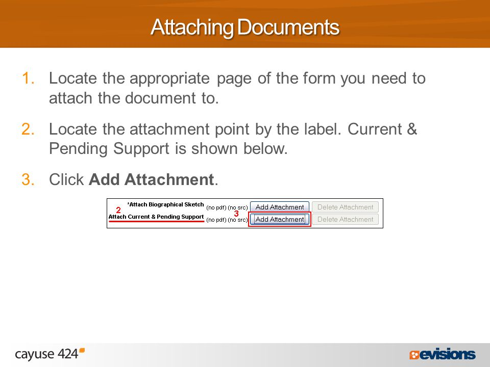 1.Locate the appropriate page of the form you need to attach the document to.